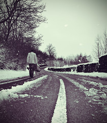 road of endless winter (matthewheptinstall) Tags: road winter snow season perspective wakefield snowfall suitcase edition endlesswinter painthorpe