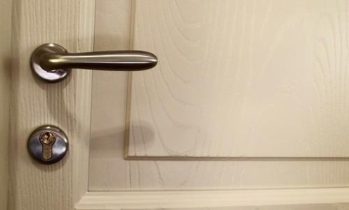 Dettaglio porta interna in frassino spazzolato tre pannelli