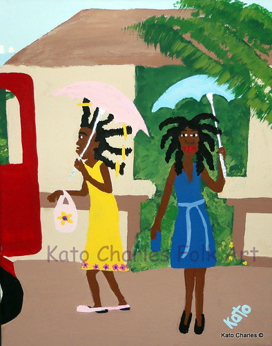 """Dressed for Wedding""; Acrylic on canvas, 10"" x 8"" by Kato Charles.  FOR SALE."