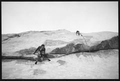 Climbers (Area Bridges) Tags: california blackandwhite film pentax joshuatree scan climbing negative scanned rockclimbers 1990 climbers mesuper joshuatreenationalpark orwo