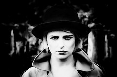 Dark Day (sophie_merlo) Tags: model models girl woman sexy blonde hat bowlerhat fashion style bw noir mono blackandwhite dark zwartwit bn mood moody stare