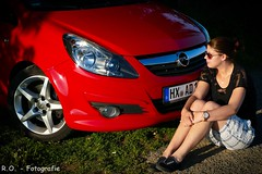 Opel-Girl (R.O. - Fotografie) Tags: opelgirl opel corsa d gsi frau women outdoor panasonic lumix dmcfz1000 dmc fz1000 fz 1000 auto car rod red photoshooting brakel museturm