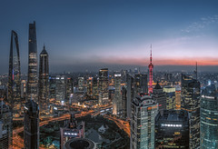 Nightscape of Shanghai City (HIKARU Pan) Tags: 1dx 24l asia canonef24mmf14liiusm china chinese eos1dx huangpuriver jinmaotower longexposure photography shanghai shanghaitower shanghaiworldfinancialcenterswfc theorientalpearlradiotvtower wideangle aerialview architecture building city cityscape downtown dusk horizontal landmark landscape night nightscape outdoors skyline skyscraper urban