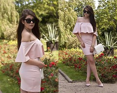 Pink dress off shoulder and white bag by Feather P., 24 year old girl from Poland, Poland (9lookbook.com) Tags: allblack blogger bomber camelcoat dresses elegant fashion girl gray hat higheels look offshoulder overknee pants pink poland polish polishgirl polishgrill skirt spring summer sunglasses travel love