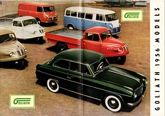 1956 Goliath Models (aldenjewell) Tags: 1956 goliath passenger car sedan express bus van goli three wheel truck brochure