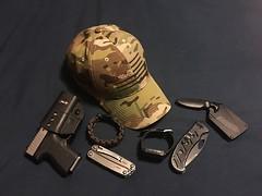 Pocket dump. (llcdrewtaylor) Tags: kahr fobus leatherman paracord kabar pebble prisoncityapparel titansurvivorcord