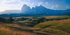 Val Gardena (Kristian Bell) Tags: dolomites sassolungo langkofel italy sony landscape meadow mountain scenery vista panorama dawn