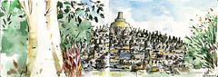 Borobudur (omGun) Tags: sketch urbansketches urbansketchers urbansketcher urbansketch borobudur temple brushpen watercolor watercolour