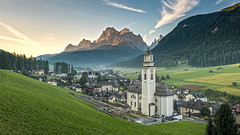 Sexten - Church during sunrise (Andreas Neuburger) Tags: altoadige sexten colorimage horizontal italy mountain church nopeople outdoors rock scenics sky summer tranquilscene copyspace traveldestinations building tranquility