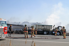 Major accident QEW at Fruitland (Hamilton/Stoney Creek) (Shane Murphy - Photojournalist) Tags: hamont qew hamilton fruitland collision fire transport truck no injuries opp closure highway damage investigation mva mvc motor vehicle accident crash drive safe