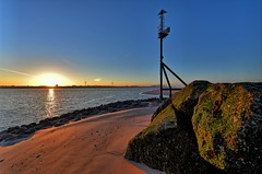 Sunrise over the River Mersey, with Liverpool UK in the distance. (pdean1) Tags: rivermersey liverpool sunrise