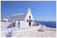 Colors of Greece (istergio) Tags: oia santorini greece cyclades church white blue landscape building architcture sea island