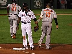 HanRam - Machado love (ConfessionalPoet) Tags: redsox baseball hanleyramirez firstbaseman firstbase 1b mannymachado thirdbaseman 3b baserunner baltimoreorioles