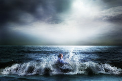 Embrace Her (Simon McCheung) Tags: ocean sea portrait sky man cold reflection male art love nature wet water clouds swim self landscape waves bokeh crash space air go joy wide creative dream mother surreal her divine freeze planet splash accept embrace emotions let renaissance rejoice feelings selfie vast refresh