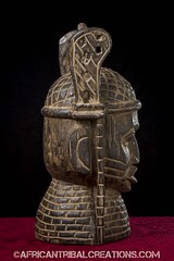 BeninMask001d (African Tribal Creations) Tags: africa wood portrait sculpture west statue atc mask african helmet tribal carving bust niger