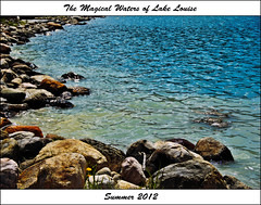 The Magical Waters of Lake Louise (LostMyHeadache: Absolutely Free *) Tags: flowers blue light summer lake mountains nature water canon reflections rocks warm waves postcard aquamarine cyan foliage ripples lakelouise mountainlake magical shining canadianrockies davidsmith glinting lakelouisealbertacanada eos60d