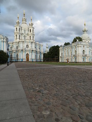 SPB Smolny Cathedral with clouds 07 p (robert_m_brown_jr) Tags: church rain architecture clouds stpetersburg evening cross russia dome oniondome russian orthodox convent resurrection sanktpeterburg  smolny voskresensky smolnyconventoftheresurrection smolnyconvent russianorthodoxarchitecture