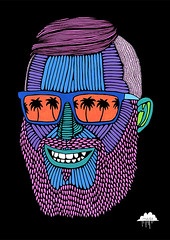 Jolly Joel (Mulga The Artist) Tags: art illustration beard drawing bees hipster palmtrees killerbees joelmoore posca sunglassesreflection mulga poscapens poscaart mulgatheartist