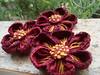 WIP! Flores de Fuxico bordadas, para um Maxi colar! (Verachitta) Tags: frances ponto colar vinho maxi reto bordado nó miolo caseado flordefuxico