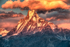 Sunrise in the Himalayas (CamelKW) Tags: nepal mountain sunrise annapurna hdr himalayas annapurnatrek mountainpeaks mountaintrekking mountainsandskies himalayastrekking sunriseinthehimalayas