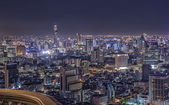 Bangkok from Sirocco Sky Bar (Sarmu) Tags: city light sunset wallpaper urban building skyline architecture bar night skyscraper thailand lights twilight highresolution downtown cityscape view skyscrapers nightshot bangkok widescreen landmark icon 1600 highdefinition resolution 1200 cbd hd bluehour wallpapers iconic hdr 1920 vantage silom vantagepoint ws skybar 1080 statetower sirocco  1050 baiyoke 720p 1080p urbanity 1680 720 2560 baiyoketower  rooftopbar 2013 baiyoketowerii lebua  baiyokeskyhotel lebuastatetower baiyokehotel sarmu lebuahotels