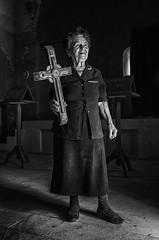 Karabach 2012 X100_23III2012_0721 (Petr Kleiner) Tags: light blackandwhite woman church open cross religion nagornokarabach fujifilmx100 petrkleiner