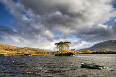Scots Pines - Loch Assynt (Michael~Ashley) Tags: sunlight clouds scotland boat highlands nikon scottish pines loch scots assynt d7000
