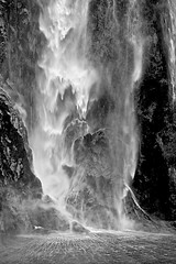 Stirling Falls (oxfordblues84) Tags: newzealand blackandwhite bw waterfall nz southisland milfordsound fiordland stirlingfalls fiordlands