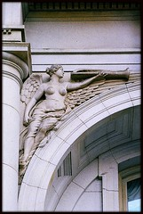 Sculptural Relief: Old County Building--Detroit MI (pinehurst19475) Tags: city urban sculpture 35mm downtown architecturaldetail michigan detroit filmcamera pentaxmzm wingedfigures decorativedetail sculpturalrelief oldcountybuilding famalefigure