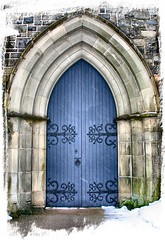 The Blue Doors (Karen_Chappell) Tags: door blue snow brick church stone architecture arch stjohns builing