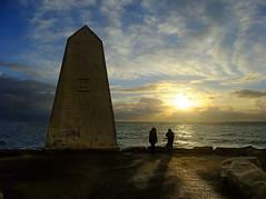 The Trinity House obelisk at Portland Bill, England, UK (Beardy Vulcan) Tags: winter sunset sea england people portland coast january dorset obelisk th englishchannel goldenhour trinityhouse portlandbill 1844 2013 concordians