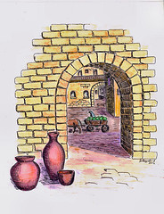 Town Gate 1 (Helanker) Tags: architecture cityscape watercolorpencils finaart