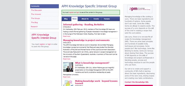 APM Knowledge Specific Interest Group   Association for Project Management