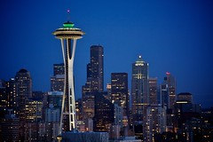 Astronaut White (Chris Saulit) Tags: seattle tower skyline night buildings observation washington downtown skyscrapers pacific northwest dusk queenanne deck pacificnorthwest spaceneedle kerrypark bluehour elevators pnw 1962 worldsfair