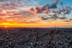 Saturday's sunset (iPh4n70M) Tags: city sunset sky paris france colour tower colors clouds de soleil town nikon ledefrance cityscape tour view couleurs tripod coucher eiffel ciel toureiffel nikkor nuages vue hdr ville 2470mm 9xp d700 9raw