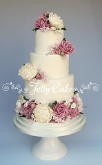 Country Garden Blooms Wedding Cake (www.jellycake.co.uk) Tags: flowers wedding roses rose cake vintage purple lace peony sugar lilac sweetpea wiltshire dusky squires jellycake weddingcakeshowroom