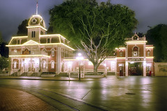 Disneyland City Hall (cstout21) Tags: california park ca travel chris red vacation usa night clouds happy us colorful unitedstates cityhall disneyland peaceful disney historic mickeymouse firehouse westcoast lightposts hdr highdynamicrange stout waltdisney mainstreetusa disneylandresort ngoc canon60d stoutandstout northamera