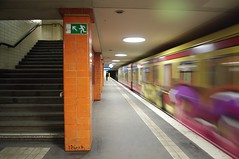 On my way (sylvie bergere) Tags: berlin stairs train subway graffiti tube platform zug treppe bahnsteig ubahnstation oranienburger strase