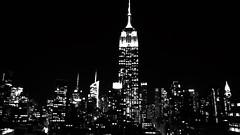 New-York (pi3rreo) Tags: newyork black white noiretblanc nikon coolpix urbain urban manhattan city ville night nuit minimalisme abstrait abstract extérieur light lumière empire building immeubles haut