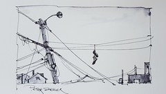 Utility Pole and... Shoes (Peter Sheeler) Tags: video youtube youtubers landscape art original watercolor winsorandnewton watercolour painting paintingaday penandink architecture ink moleskinearts canada imagesofcanada blackandwhite utilitypole