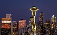 Skyline (prose729) Tags: spaceneedle seattle washingtonstate pacificnorthwest cityscape skyscraper tower buildings bluehour night lights downtown urban architecture design skyline