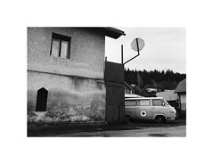 ambulance (Marek Pupk) Tags: central europe slovakia film analog ambulance canon a2 eos documentary blackandwhite street monochrome bw ilford xp2