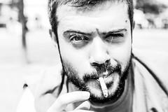 (Lara Cores) Tags: bw bokeh monochrome blackandwhite blackwhite oldfashion cigarette smoke him man portrait friends birthday happy beard hot