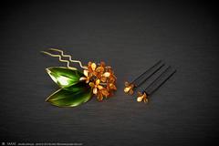 2016    2016 Fragrant olive 04 ( sakae) Tags:   fragrant olive    kanzashi hair pin ornaments        kimono  sakae         resin time out cnn nhk     chromavision interbee2015