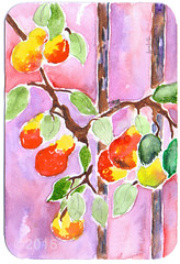 From Barbara Stasiowski (tofuart) Tags: mailart postcard postal snail mail mixedmedia pink watercolor pear