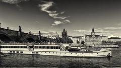 IMG_9709 (radomirmor) Tags: monochrome bw prague river vltava bridge charlesbridge water boat town canon 6d ef2470