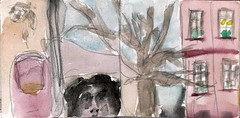 wrden wir uns an einem Tag wieder treffen, der noch weniger glorreich war (raumoberbayern) Tags: sketchbook skizzenbuch tram munich mnchen bus strasenbahn herbst winter fall pencil bleistift paper papier robbbilder stadt city landschaft landscape auto car red rot