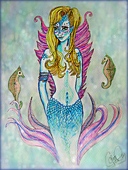Mermaid with Seahorses (Chris C. Crowley) Tags: mermaidwithseahorses mermaid seahorses scales fins tail art artwork painting sketch mixedmedia