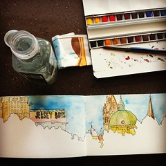 Sketching @ Southbank (that designer girl) Tags: sketch cityscape watercolour sketchkit urbansketches
