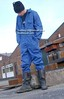 work boots (MudboyUK) Tags: blue man guy wearing work boot industrial boots lad overalls worker coveralls workwear workboots riggers ovies